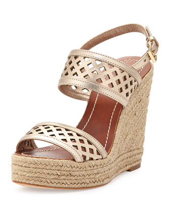 Lattice Perforated Wedge Sandal, Platinum