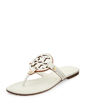 Miller Leather Logo Thong Sandal, Ivory