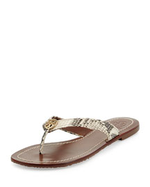 Thora Snake-Print Logo Thong Sandal, Natural Gold