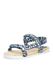 Leather Espadrille Bumper Sandal, Tribal Blue
