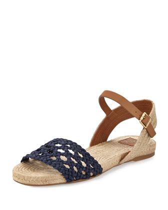 Solemar Flat Leather Sandal, Navy Royal