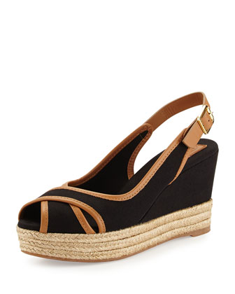 Majorca Peep-Toe Wedge, Black Royal