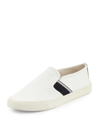Canvas Stripe Slip-On Sneaker, Ivory/Royal