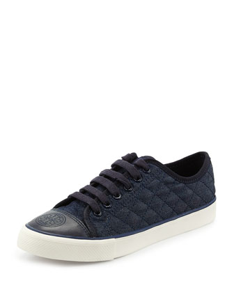 Quilted Denim Lace-Up Sneaker