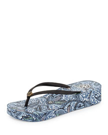 Thandie Printed Wedge Flip-Flop Sandal, Black/Ivory/Cape Floral