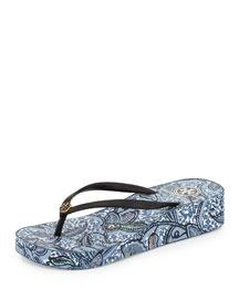 Thandie Printed Wedge Flip-Flop Sandal, Black/Ivory/Cape Floral