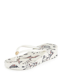 Thandie Printed Wedge Flip-Flop Sandal, Ivory/Cape Floral