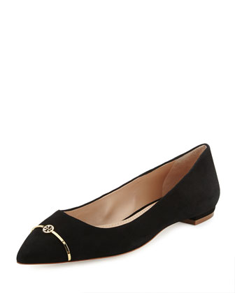 Suede Point-Toe Bar Logo Flat, Black