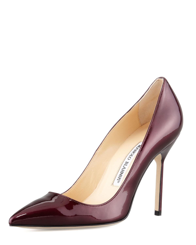 Manolo Blahnik BB Liquid Patent Point-Toe Pump, Wine (Red), Size: 38.5 EU (8.5B US)