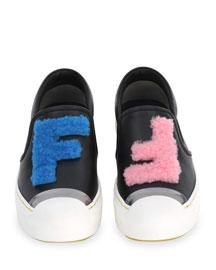 FFlynn FF Shearling Fur Slip-On Sneaker, Black/Silver/Royal Blue