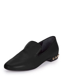 Studded-Heel Smoking Slipper, Black (Noir)