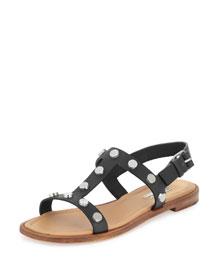 Studded Flat Slingback Sandal, Black