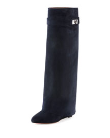 Suede Shark Lock Fold-Over Boot, Navy