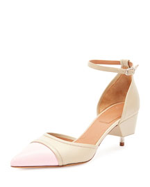 Cap-Toe Screw-Heel Pump, Beige/Pink
