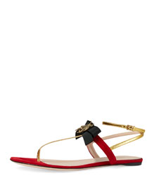 Moody Bow Flat Thong Sandal, Red/Oro