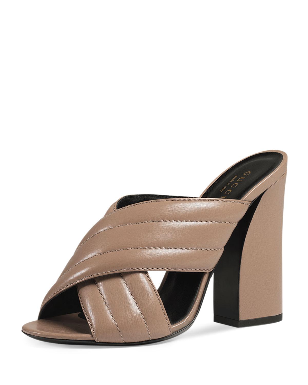 Gucci Webby Leather 110mm Sandal, Porcelain Rose, Size: 38.5B/8.5B