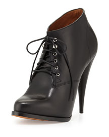 Leather Lace-Up 100mm Bootie, Black