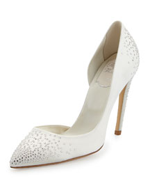 Strass-Embellished Half-d'Orsay Pump, White