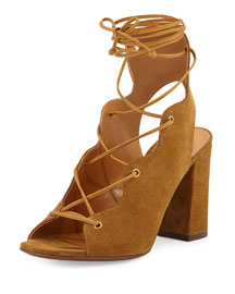Babies Suede Lace-Up Sandal, Tan