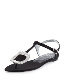 Thong Chips Flat Satin Sandal, Black (Nero)