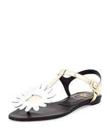 Thong Chips Flower Sandal, Golden/Silvertone