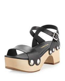 Chunky Leather Clog Sandal, Black/Natural (Nero/Naturale)