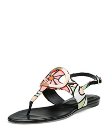 Floral Round-Buckle Flat Thong Sandal, Multicolor