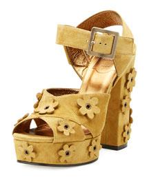 Floral-Appliqu� Suede Platform Sandal, Khaki