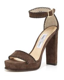 Holly Suede 120mm Sandal, Black/Pecan