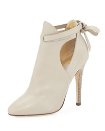Marina Leather Cutout Bootie, Marble