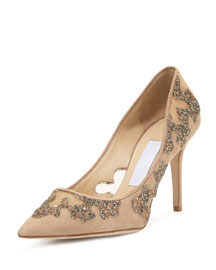 Karmel Crystal Mesh 85mm Pump, Nude