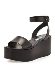Single-Band Leather Platform Sandal, Black (Nero)