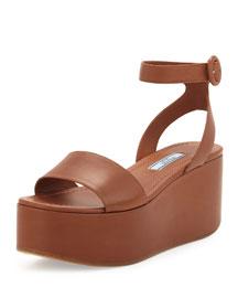 Single-Band Leather Platform Sandal, Tan