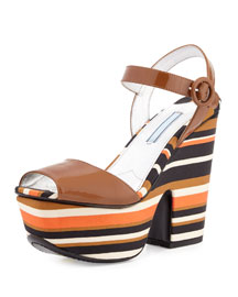 Patent Striped Wedge Sandal, Cognac