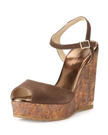 Perla Suede/Cork Wedge Sandal, Pecan