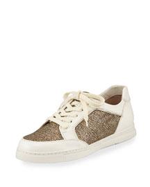 Centercourt Metallic Lace-Up Sneaker, Oro