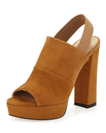 Partition Suede Platform Sandal, Camel