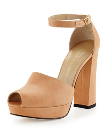 Valleygirl Leather Platform Sandal, Flesh