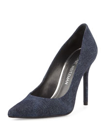 Nouveau Denim Pointed-Toe Pump, Navy