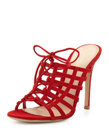Caged Suede Mule Pump, Tabasco Red