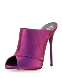 Metallic Satin Slide Sandal, Fuchsia