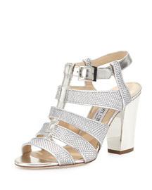 Marquee Metallic Woven Sandal, Silver