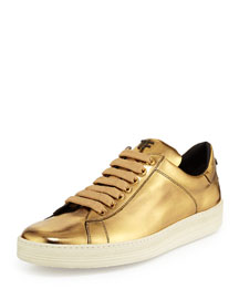 Mirror Leather TF Low-Top Sneaker, Gold