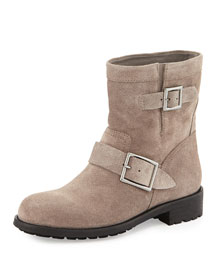 Youth Embossed Suede Biker Boot, Taupe