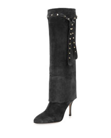 Studded-Strap Knee Boot, Nero