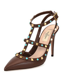 Rockstud Leather T-Strap Pump, Cacao/Turquoise