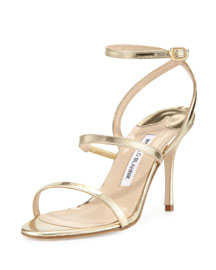 Didin Metallic Strappy High-Heel Sandal, Gold
