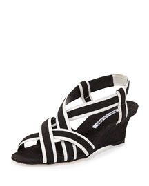 Lasti Crisscross Wedge Sandal, Black/White
