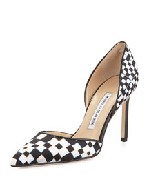 Tayler Printed Pointed d'Orsay Pump, Black/White