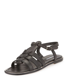 Canale Leather Caged Flat Sandal, Black